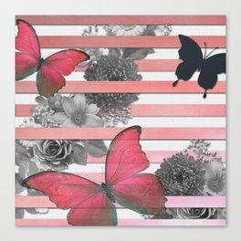 Butterflies Pink Stripes & Grayscale Flowers Canvas Print