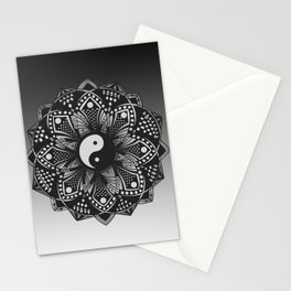 Yin and Yang Mandala (Black & White) Stationery Cards