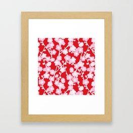 Red Cherry Blossom Pattern Framed Art Print