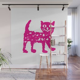 Magenta cat, cat pattern, cat design Wall Mural