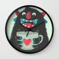 coffee Wall Clocks featuring Demon with a cup of coffee by Lime