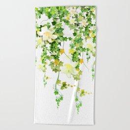Watercolor Ivy Beach Towel