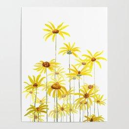 Yellow sunchoke flowers painting Poster