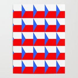 flag of Czech 3 -Czechia,Česko,Bohemia,Moravia, Silesia,Prague. Poster