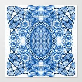 Blue Zentangle Tile Doodle Design Canvas Print