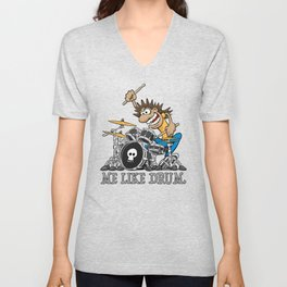 Me Like Drum. Wild Drummer Cartoon Illustration Unisex V-Neck