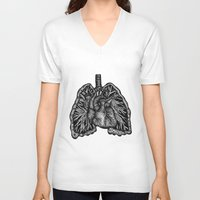 lungs V-neck T-shirts featuring LUNGS by Fanny Andy
