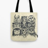 owls Tote Bags featuring Nine Owls by Rachel Caldwell