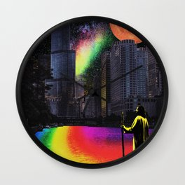 Jesus Pride - Chicago River Rainbow - Surreal Image - Digital Collage Artwork Wall Clock