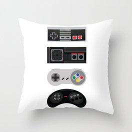 4 Retro Video Game Controllers - Vector Art Throw Pillow