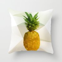 pineapple Throw Pillows featuring Pineapple by Three of the Possessed