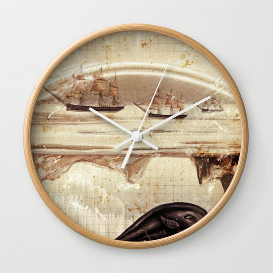 paper II :: whales/ships (red) Wall Clock