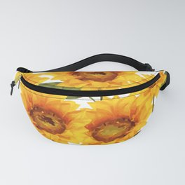 Design Five Sunflower on white Background Fanny Pack