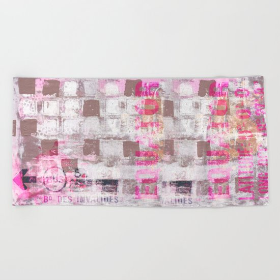Abstract grunge Squares pating with typography Beach Towel