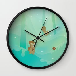 Hide and Seed (Cartoon Squirrels, Mint Green Snow Forest) Wall Clock