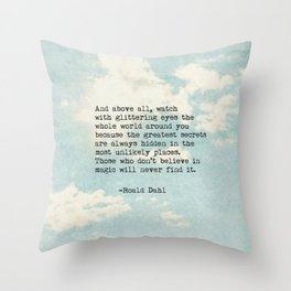 Roald Dahl Glittering Eyes Throw Pillow