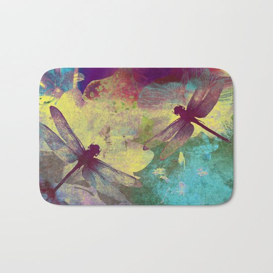 Painting Orchids and Dragonflies Bath Mat