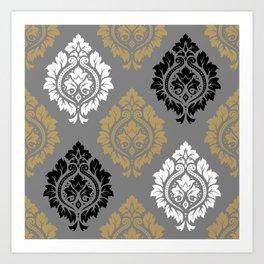 Decorative Damask Pattern BW Gray Ochre Art Print
