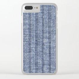 Denim Blue Jersey Knit Pattern Clear iPhone Case