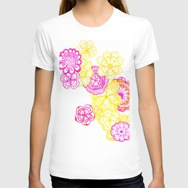 28. Colourful Pink and Yellow Flower in Henna World T-shirt