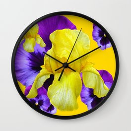 PURPLE PANSIES & YELLOW IRIS MONTAGE Wall Clock