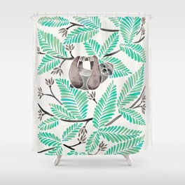 Happy Sloth – Tropical Mint Rainforest Shower Curtain