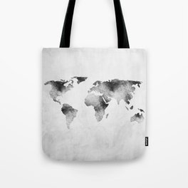 World Map - Hammered Metallic Monochrome Tote Bag