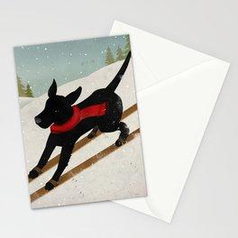 Black Dog Labrador Ski Mountain Stationery Cards