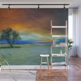 Tree in sunset, painting Wall Mural