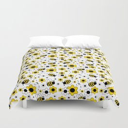 Honey Bumble Bee Yellow Floral Pattern Duvet Cover