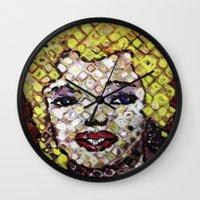 marylin monroe Wall Clocks featuring MARYLIN MONROE by JANUARY FROST