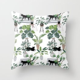 cats in the interior pattern Throw Pillow