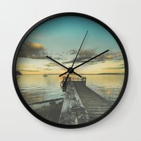 alice in wonderland Wall Clocks featuring Dating Alice in wonderland by HappyMelvin