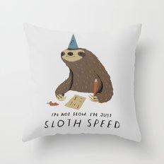 sloth speed Throw Pillow