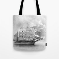uncharted Tote Bags featuring Sailing uncharted waters by Sney1
