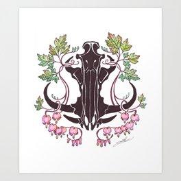 Boar Skull with Bleeding Hearts Art Print