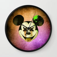mickey Wall Clocks featuring Mickey by wrong planet