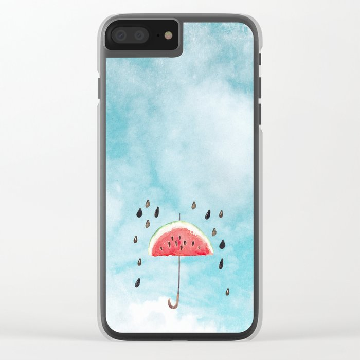 Melon- Fruity Summer Rain Clear iPhone Case