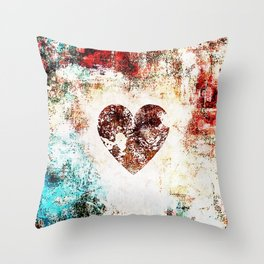 Vintage Heart Abstract Design Throw Pillow