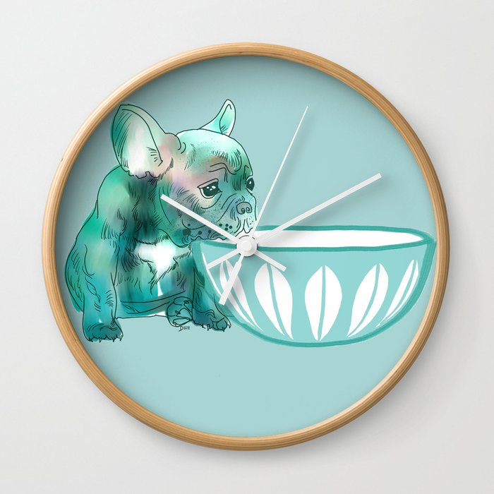 Dog with bowl #1 Blue Wall Clock