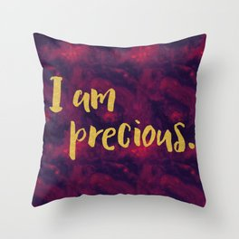Faux gold glitter inspirational quote on purple watercolor Throw Pillow