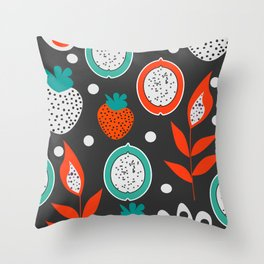 Strawberries and citrus fruits at night Throw Pillow