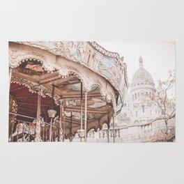 Montmartre Paris Carousel with Sacre Coeur Rug