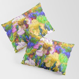 BLUE YELLOW IRIS GARDEN REFLECTION Pillow Sham
