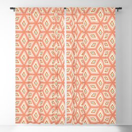 Living Coral Tilted Cubes Pattern Blackout Curtain