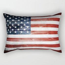 American Wooden Flag Rectangular Pillow