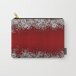 Shiny Red Texture With Silver Sparkles Carry-All Pouch