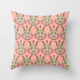 Pink Baphomet Damask Throw Pillow