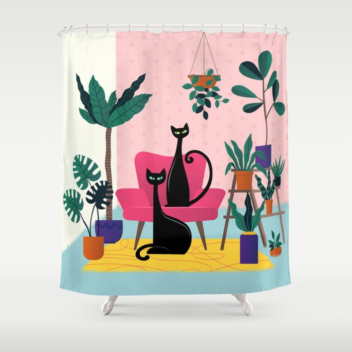 Sleek Black Cats Rule In This Urban Jungle Shower Curtain