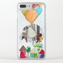The elephant over the city Clear iPhone Case